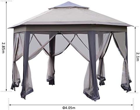 Outsunny - Cenador Hexagonal para jardín, 4 m, para Exteriores, para Bodas, Fiestas, Refugio con Red: Amazon.es: Jardín