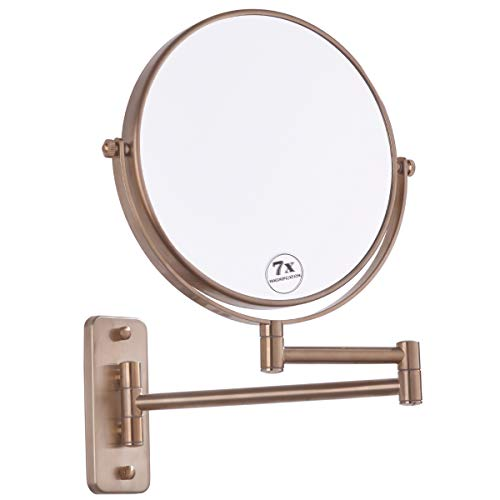 BESTILL 8 Inch Two-Sided Swivel Wall Mount Makeup Mirror with 7X Magnification, Champagne -