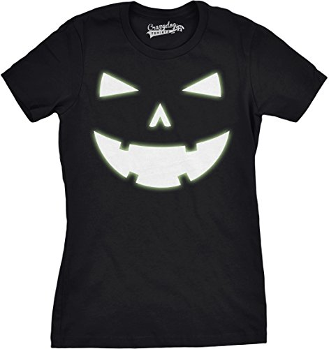 Crazy Dog T-Shirts Womens Happy Tooth Glow In The Dark Pumpkin T Shirt Face Halloween Tee For Ladies (Black) S Halloween Ghost Dog T-shirt