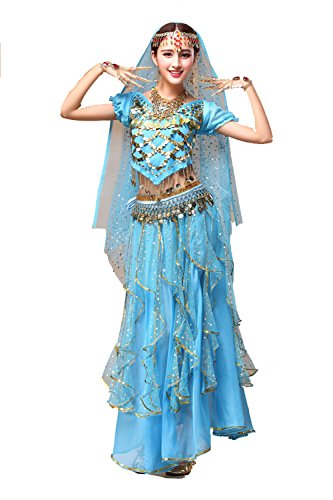 (YYCRAFT Women's Halloween Costume Tops Skirt Set with Accessories Belly Dance Performance Outfit-Style)