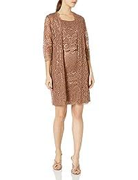 Women's Petite 2 PCE Laced Scallop Coat Dress
