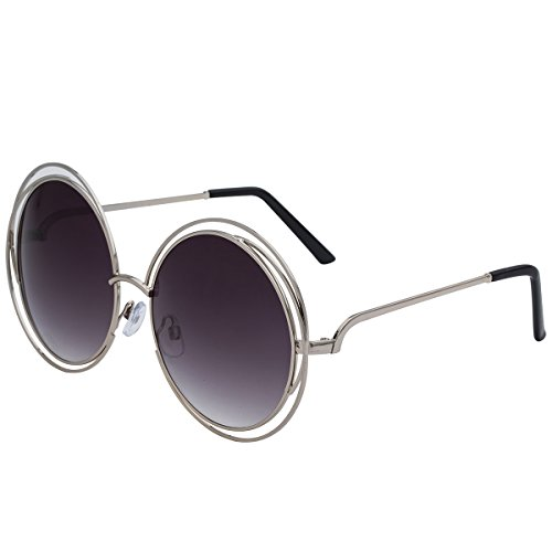 5146d597ca VIVIENFANG Full Metal Double Circle Wire Frame Oversized Round Polarized  Sunglasses 86613 - Buy Online in Oman.