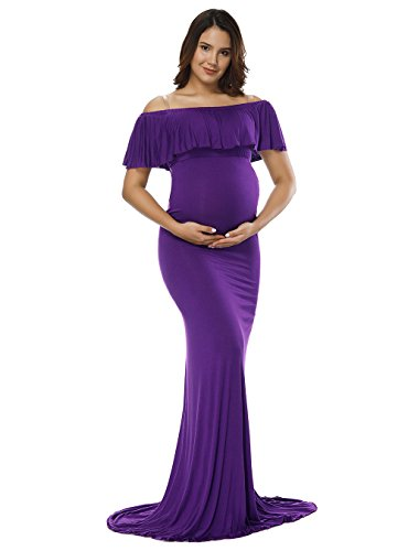 (JustVH Women's Off Shoulder Ruffles Maternity Slim Fitted Gown Maxi Photography Dress Purple)
