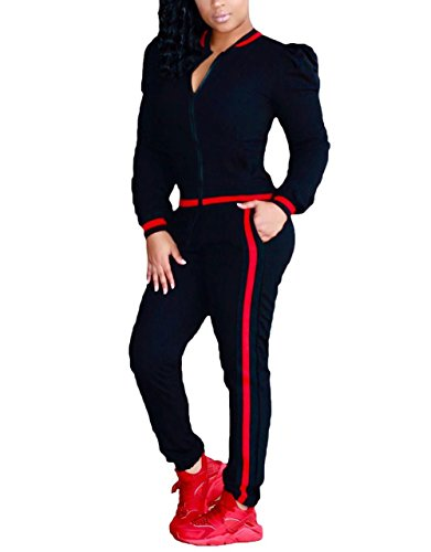 Plus Size Tracksuit - FOUNDO Tracksuit Sets For Women 2 Piece Sportwear Jogging Jog Pants Sweatsuit Black XXL