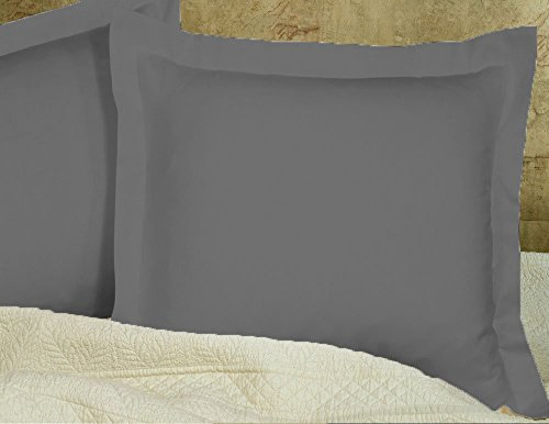 Pillow Shams Set of 2 - New 550 Thread Count Natural Cotton Euro Pillow Shams with 2 inch Border (Dark Gray, European 26x26) (Dark Gray, European 26x26)