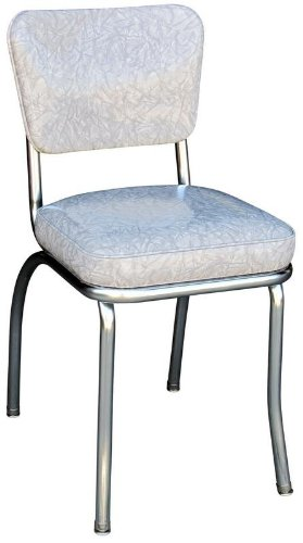 Bon Richardson Seating Retro 1950s Chrome Diner Side Chair In Cracked Ice Grey
