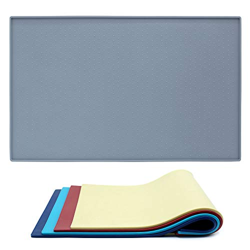 Vivaglory Dog Feeding Mat Large 24''L x 16''W FDA Grade Waterproof Non-Slip Pet Silicone Food Mat Cat Dog Stainless Steel Water Bowl Placemat Anti-Messy Design,Grey