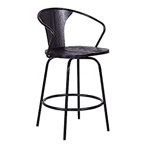 "Armen Living Payton Industrial Wood and Steel Swivel Kitchen Barstool, 30"" Bar Height, Walnut"