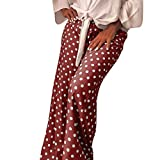 hositor Pants for Women, Ladies Casual Point Dot Print Wide Leg Palazzo Lounge Pants Red