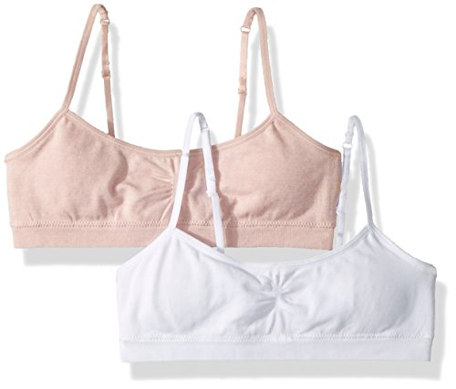 Hanes Big Girl's Seamless Foam Bra 2-Pack Bra, Budding Pink Heather/White, X Large (Girls Clothes Bra)