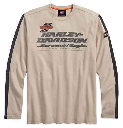Harley-Davidson Men's Screamin' Eagle Long Sleeve Striped Tee 96282-18VM (XL) Beige