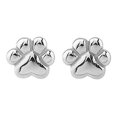 20805e72a Image Unavailable. Image not available for. Color: Small Stainless Steel Paw  Print Stud Earrings
