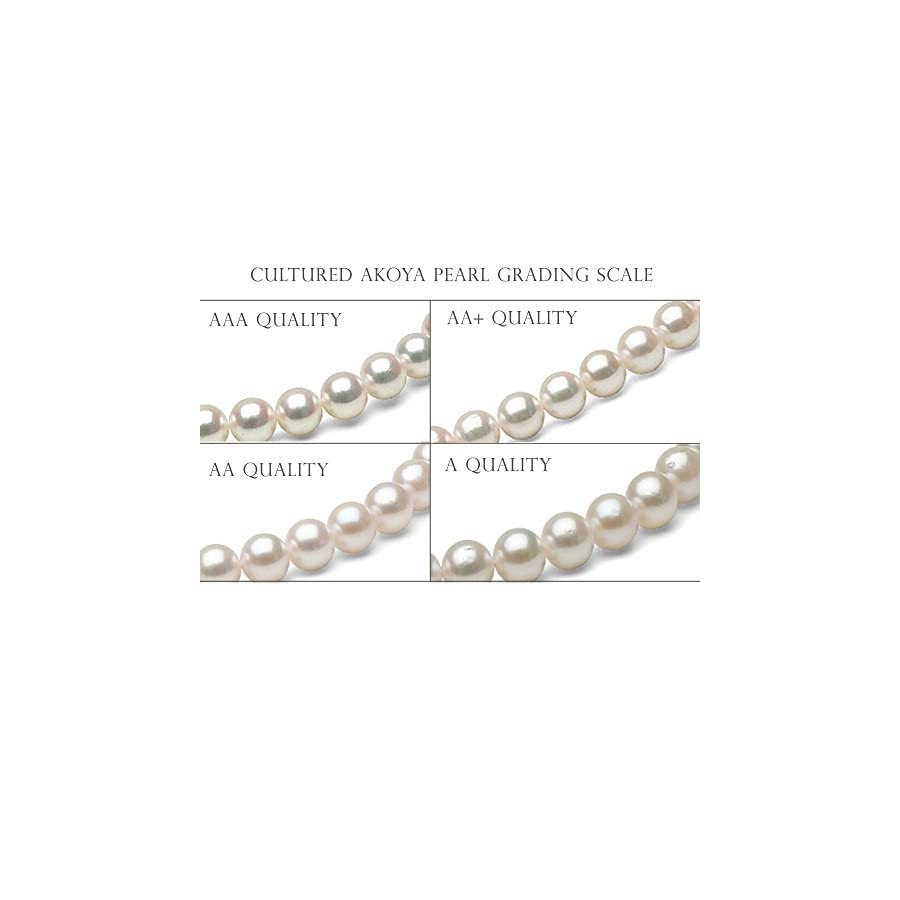 14K White Saltwater Japanese Akoya Cultured Pearl Stud Earrings, 7.0 7.5mm AAA Quality, Yellow Gold