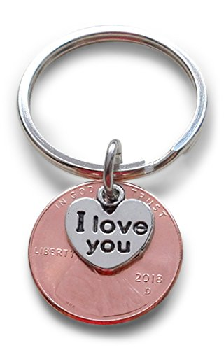 I Love You Heart Charm Layered Over 2018 US One Cent Penny Keychain; Anniversary Gift, Couples Keychain - One Cent Penny