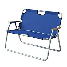 "Outsunny 44"" 2 Seat Aluminum Folding Chair Outdoor Foldable Picnic Camping Double Seat Bench Blue"