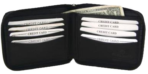 Leather Men's Wallet with All Around Zipper style - 1456cf ()