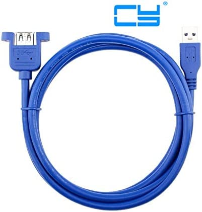Blue - Cable Length: 1m with Screws Computer Cables USB 3.0 Male to Female Extension Cable with Panel Mount Screw Hole Lock Connector Adapter Cord for Computer