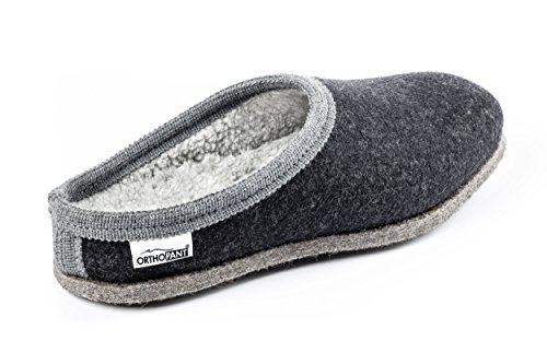 Orthopant Felt Slippers Baita - House Shoes with Open Heel - Breathable, Anti-Slip, Unisex - Fine Felt for Cosy and Warm Feeling of Wellbeing - Handmade Quality Made in South Tyrol Anthracite with grey border