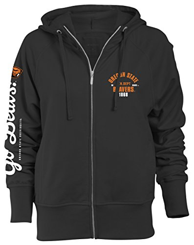 Camp David NCAA Oregon State Beavers Slouch Fit Full Zip Hood, Black, Large