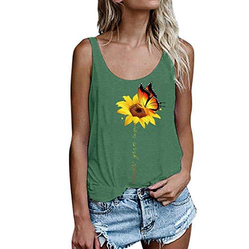 Women Camisole Summer Tank Top, LIM&Shop  Casual Plus Size Backless Sunflower Off Shoulder T-Shirt Swing Shirt Vest Green