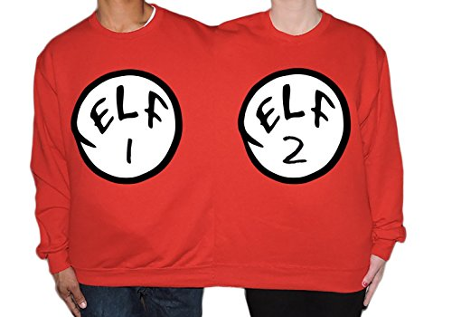 Two Person Ugly Christmas Sweater Elf 1 and Elf 2 by CamisasCo