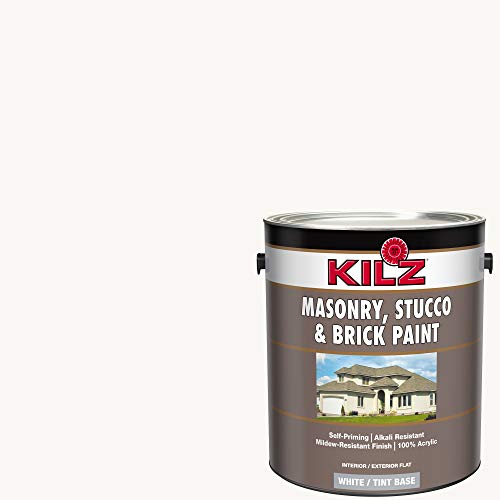 KILZ 13511201 L340711 Interior/Exterior Self-Priming Masonry, Stucco and Brick Flat Paint 1 Gallon Angel Wing/Bright White