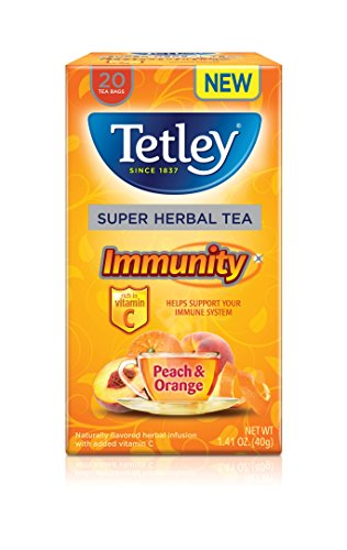 Tetley Super Herbal Tea, Immunity, Peach & Orange, 20 Tea Bags (Pack of 6)