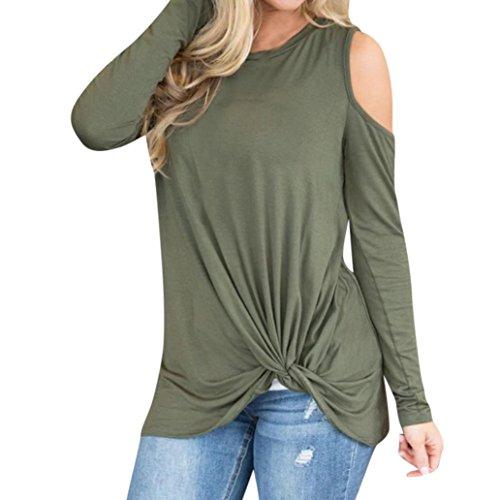 Puro Orlo Lunghe Superiore Shirt Donne Casual Verde Donna Camicetta Moda T Spalla Solido Top Loose Senza Colore Freddezza Maglietta Maniche Ningsun Annodato Eleganti POxqTE0