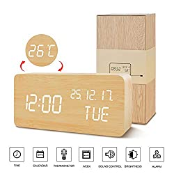 BlaCOG Wooden Alarm Clock with 3 Levels Adjustable Brightness Voice Control Small Digital Desk Alarm Clock with Day/Date/Temperature USB/Battery Powered for Home Bamboo/White