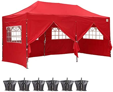 Outdoor Basic Heavy Duty 10×20 Ft Pop Up Canopy Wedding Party Tent Event Gazebos with 6 Removable Sidewalls Red Include Sandbags