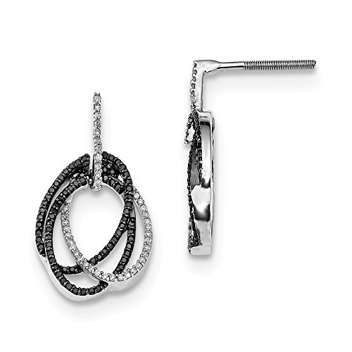 925 Sterling Silver 0.46CT Black and White Diamond Triple Circle Drop Earrings