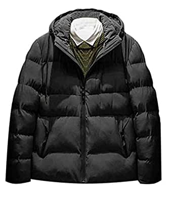 X-Future Men Casual Winter Cotton Solid Drawstring Thicken