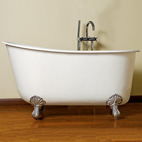 58' Cast Iron Swedish Tub with NO Faucet Holes & Chrome Feet- 'Holt'