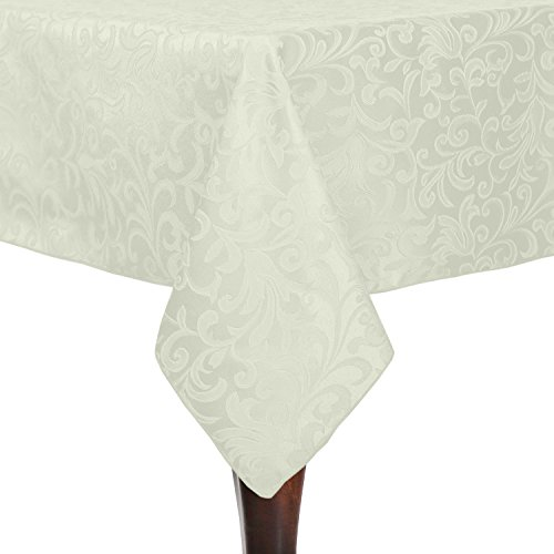 (Ultimate Textile -2 Pack- Somerset 72 x 72-Inch Square Damask Tablecloth - Jacquard Weave Scroll Design, Ivory Cream)