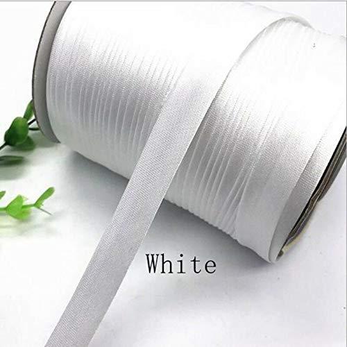 (15mm Width Satin Edge Strip Cloth Cheongsam Clothes Color Brocade Ribbon DIY (Color - White))