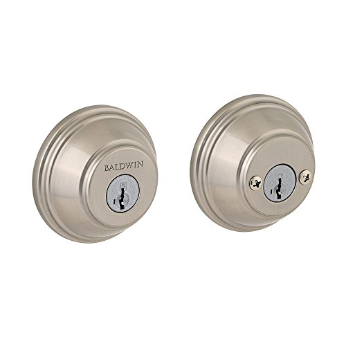Prestige 385 RDB 15 SMT Deadbolt with ROUND Rose, Double Cylinder Smartkey, Satin Nickel, Brass; Hardened Steel by Prestige