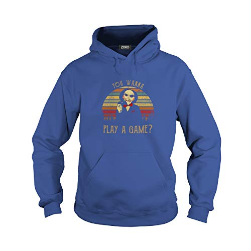 Unisex You Wanna Play A Game Vintage Adult Hooded Sweatshirt (S, Royal Blue) -