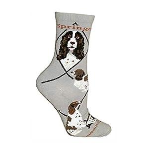 Springer Spaniel Gray Ultra Lightweight Cotton Crew Socks,Gray,9-11 2