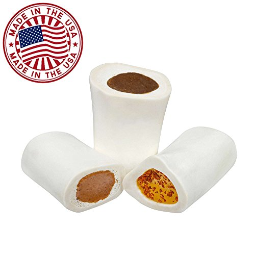 Filled Dog Bones (Flavors: Peanut Butter, Cheese, Bacon, Beef, etc.) Made in USA Stuffed Bulk 3 to 6