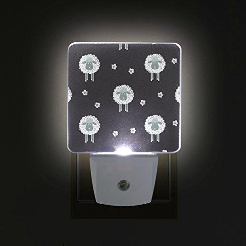 ALAZA Sheep LED Night Light with Smart Dusk to Dawn Sensor,Lamb Animal Black Plug in Night Light Great for Bedroom Bathroom Hallway Stairways Or Any Dark Room by ALAZA