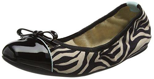 Cara Zebra Animal Black Bailarinas para con Twists 034 Punta Butterfly Cerrada Mujer Negro B6xRqSwvW5
