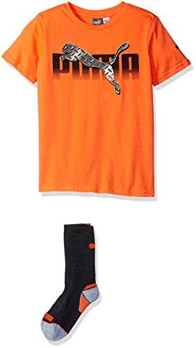 PUMA Big Boys' Graphic Tee and Sock, Fire Orange, Medium (10/12)