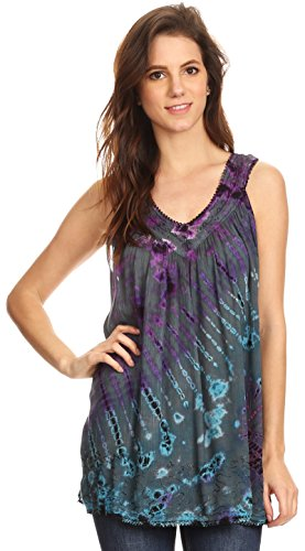 Tie Dye Sleeveless Embroidered V-Neck Tank Tunic Top Blouse/Cover Up - Teal - OS (Hippie Tunic Blouse)