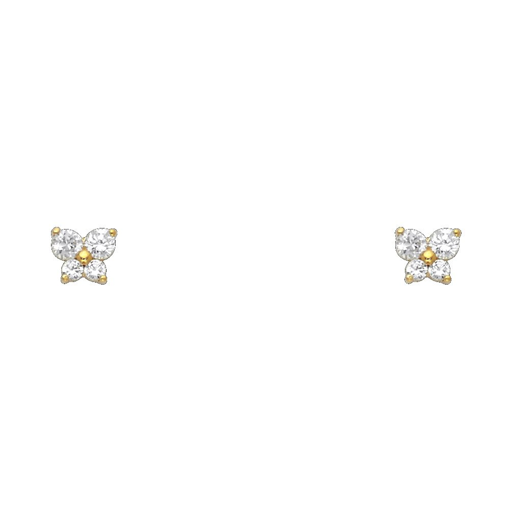 14k Yellow Gold Butterfly Stud Earrings with Screw Back 12 Different Color Available ST206-04