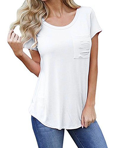 Sherosa Short Sleeve Summer T-Shirt Tops Blouse Casual T Shirts For Women With Pockets (M, White) - Soft White Knit Blouse