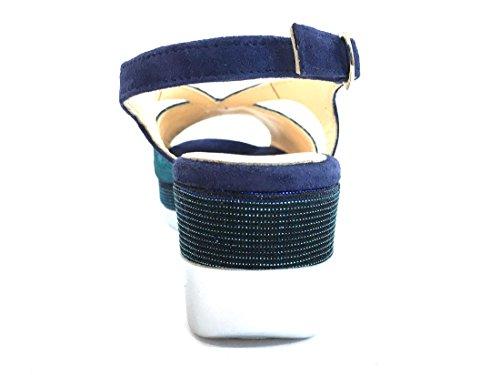 R70704 DENIM Scarpa donna Melluso sandalo zeppa pelle made in italy