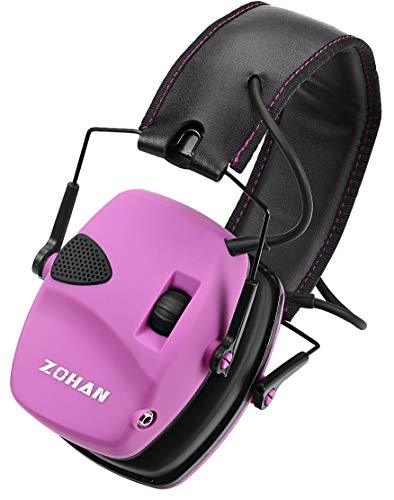 (ZOHAN Sound Amplification Electronic Shooting Earmuff, Low Profile Noise Reduction Ear Defender For Hunting, NRR 22dB Professional Hearing Protector (Pink(Without Case)))