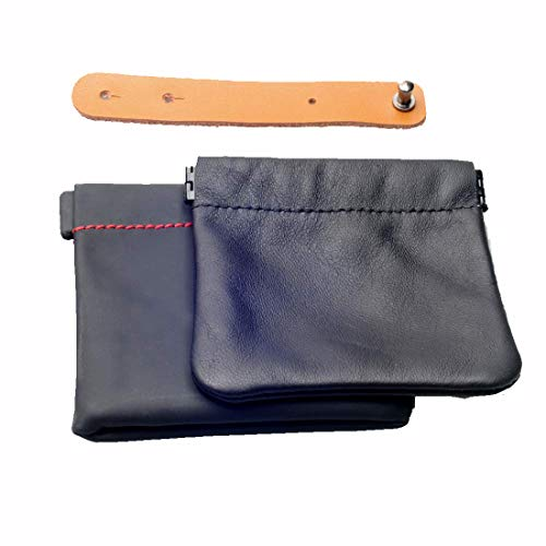one Genuine Leather Squeeze Coin Purse Change Holder,one waterproof bag for Earbud Case, one Ties Leather Cord Organizer