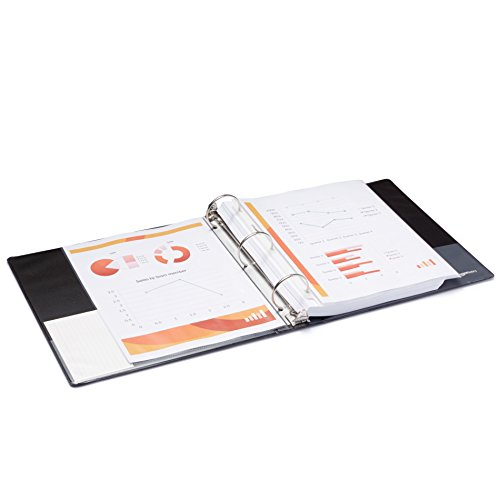 AmazonBasics 3-Ring Binder, 2 Inch - Black, 4-Pack