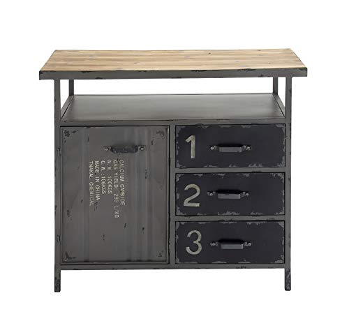 Deco 79 Industrial Repurposed Metal Utility Cabinet with Storage & Wood Tabletop, Industrial Furniture Storage Cabinet, Wood & Metal Cabinet   36